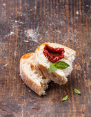 Bread ciabatta with Sun dried tomatoes — Stock Photo