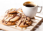 Coffee and Homemade cookies with chocolate — Stock Photo