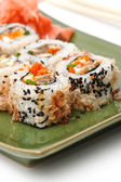 Sushi Set: sushi rolls with rice, fish and seaweed — Stock Photo