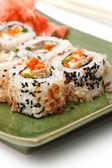 Sushi Set: sushi rolls with rice, fish and seaweed — Stock Photo