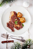 Ribeye Steak with Baked Potato — Stock Photo