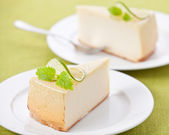 Classical Cheesecake on plate — Stock Photo