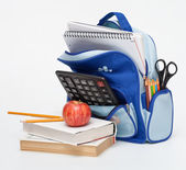 School Supplies with apple — Stock Photo