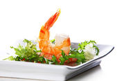 Green salad with shrimp — Stock Photo