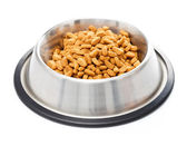 Bowl full of pet food for cats — Stock Photo