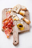Cured Meat, Cheese and bread — Stock Photo