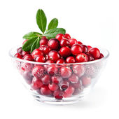 Glass bowl with cranberries — Stock Photo