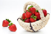 Strawberry in wattled basket — Stock Photo