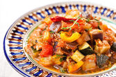 Traditional vegetable ratatouille on white background — Stock Photo