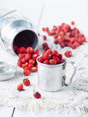 Wild strawberries in a pannikin on a table — Stock Photo