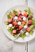 Watermelon Salad with mozzarella — Stock Photo