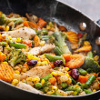 Stock Photo: Wok stir fry vegetables with chicken fillet