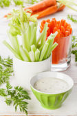 Snack with Assorted fresh vegetables with yoghurt — Stock Photo