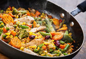 Wok stir fry vegetables with chicken fillet — Stock Photo