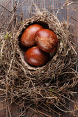 Easter eggs in natural nest on wooden background — Stock Photo