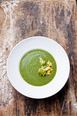 Cauliflower Romanesco soup in white bowl — Stock Photo