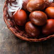 Easter eggs on wooden background — Stock Photo #29170689