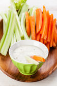Snack with Assorted fresh vegetables and yoghurt — Stock Photo