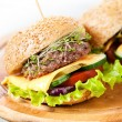 Two burgers with meat and greens — Stock Photo #30022723