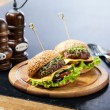 Two burgers with meat and greens — Stock Photo #30022725