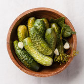 Fresh salted cucumbers with spices — Stock Photo