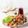 Roasted baby potatoes with mushrooms — Stock Photo