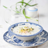 Okroshka - Russian cold soup with vegetables — Stock Photo