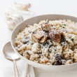 Wild mushrooms risotto with parsley and parmesan — ストック写真