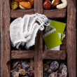 Tea bags, nuts, raisins and brown sugar — Stock Photo