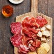 Assorted Cured Meats, Cheese and Honey — Stock Photo