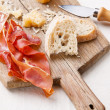 Prosciutto, cheese and bread — Stock Photo