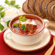 Ukrainian and russian national borsch — Stock Photo
