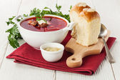 Red borsch with pampushki — Stock Photo