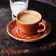 Cup of espresso coffee with milk — Stock Photo