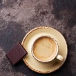Coffee cup with chocolate — Stock Photo