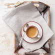 Coffee cup in Vintage tray — Stock Photo
