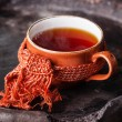 Cup of hot tea in scarf — Stock Photo #35654811