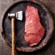 Raw fresh meat and meat cleaver — Stock Photo