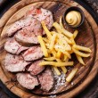 Roast beef with Salted french fries — Stock Photo