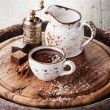 Hot chocolate sprinkled with white chocolate — Stock Photo