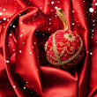 Red christmas velvet ball — Stock Photo