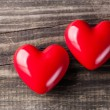 Two red hearts on Valentine's Day  — Stock Photo