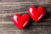 Two red hearts on Valentine's Day — Stock fotografie