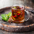 Mint tea with cinnamon — Stock Photo