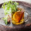 Tarragon hot drink tea with honey — Stock Photo