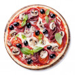 Italian pizza with salami, mushrooms, olives and basil leaves — Stock Photo
