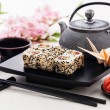 Sushi rolls with soy sauce and ginger — Stock Photo