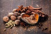 Mix of spices nutmeg, cinnamon, star anise, cloves, cardamom — Stock Photo