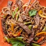 Noodles Yakisoba with beef — Stock Photo