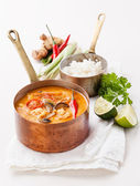 Spicy Thai soup Tom Yam with Rice — Stock Photo